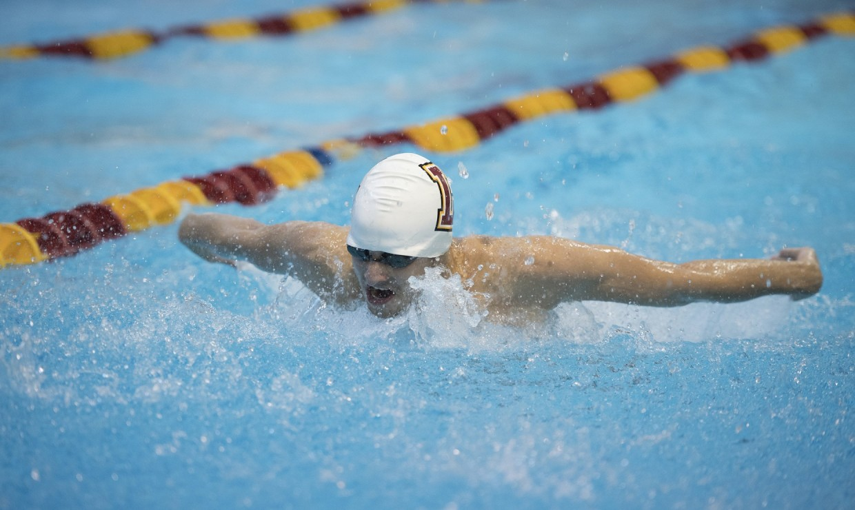 English sophomore Jack Jackson swims the butterfly stroke. Jackson set a new school record in the men's 200-yard butterfly finishing with a time of 1:58:28. Photo credit: Loyola New Orleans Athletics