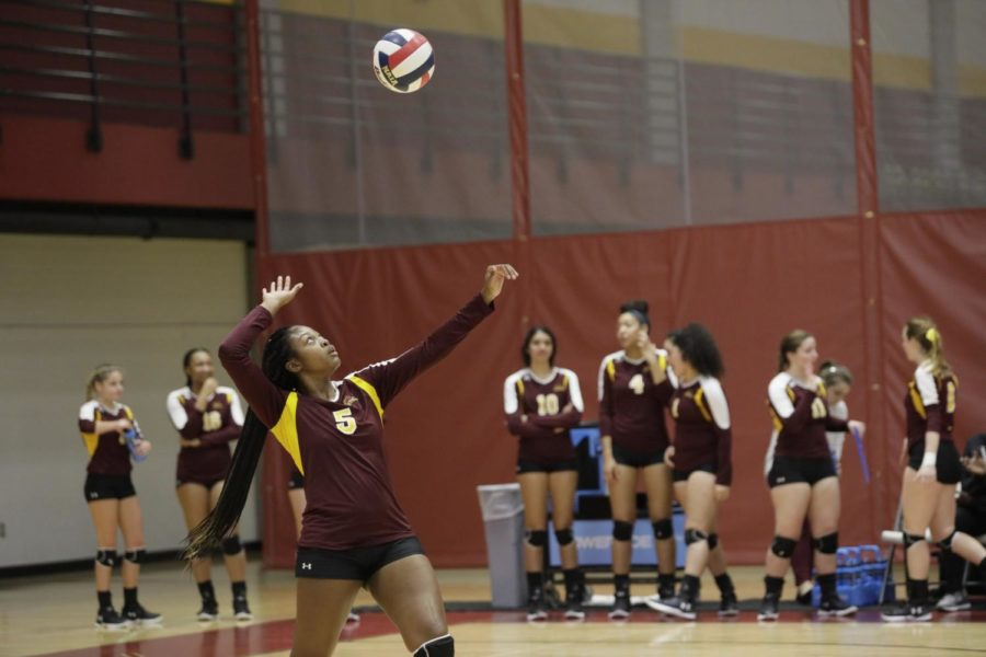 General Studies freshman Jordan Bernard lines up a serve. Bernard is third on the team in kills. Photo credit: Cristian Orellana