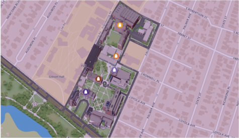 Map of the spookiest places on campus. Photo credit: Ariel Landry
