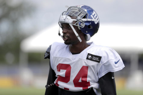 FILE- In this Aug. 2, 2018, file photo, New York Giants cornerback Eli Apple works out during NFL football training camp in East Rutherford, N.J. The Giants traded Apple to the New Orleans Saints on Tuesday, Oct. 23. 2018.  (AP Photo/Julio Cortez, File)