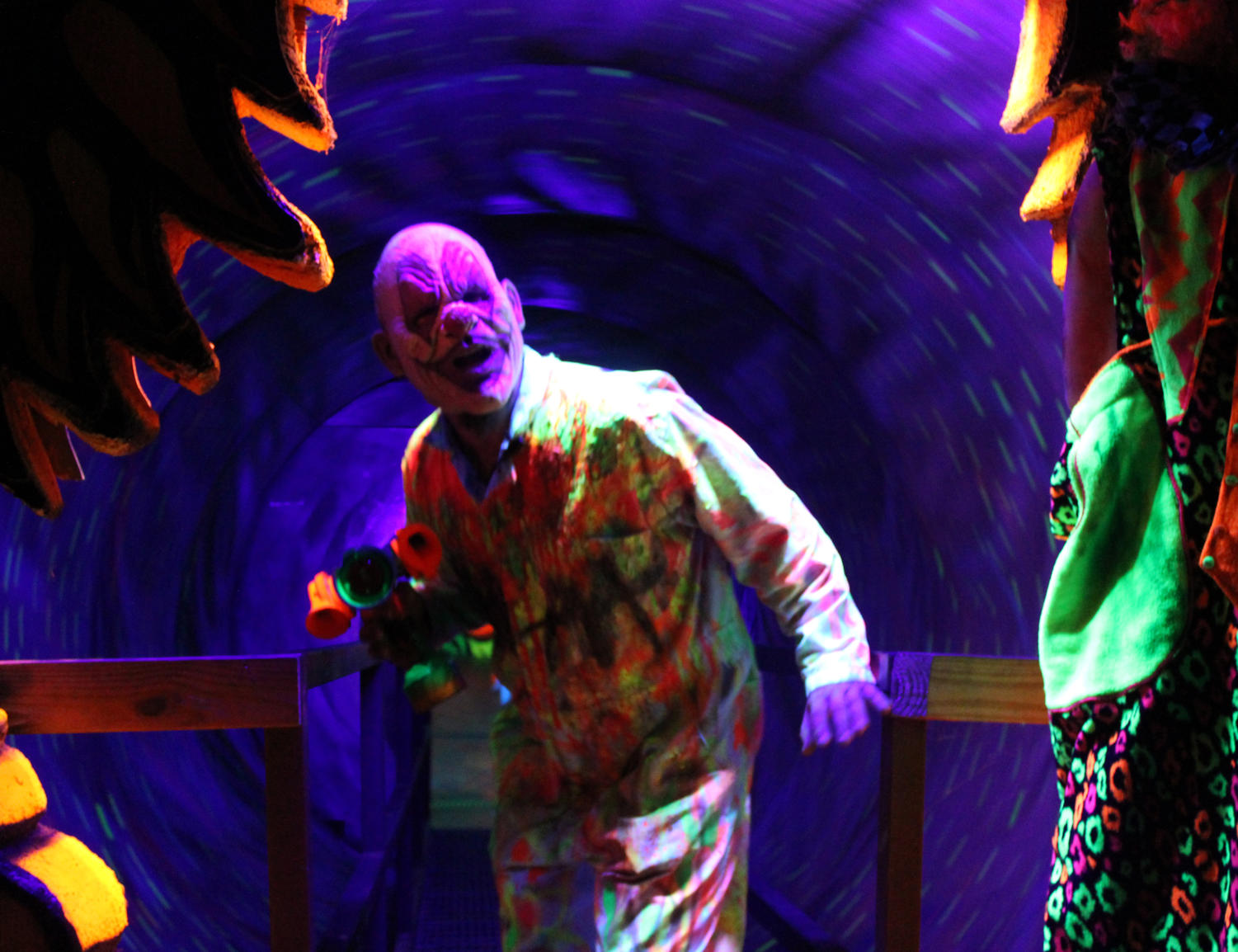 The spinning 3D tunnel serves as the clown room at NOLA Nightmare. Guests were frightened by live-actors and special effects throughout the haunted house. Photo credit: Caitlyn Reisgen