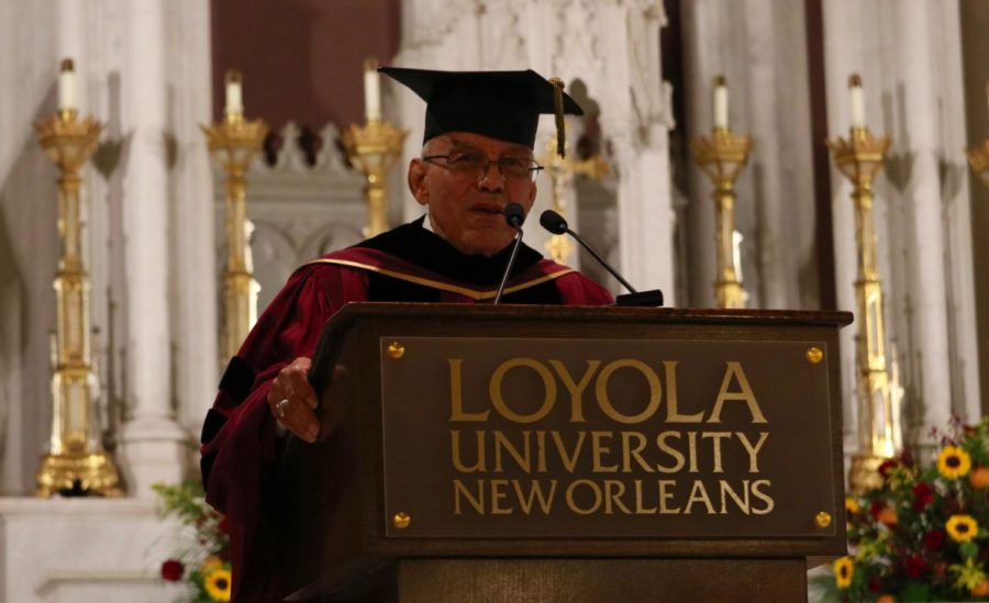 Former President of Xavier University of New Orleans, Norman Francis gave a speech at the Inauguration Ceremony. He was the first African-American to enroll at Loyola and Loyola's law school. Photo credit: Sidney Ovrom