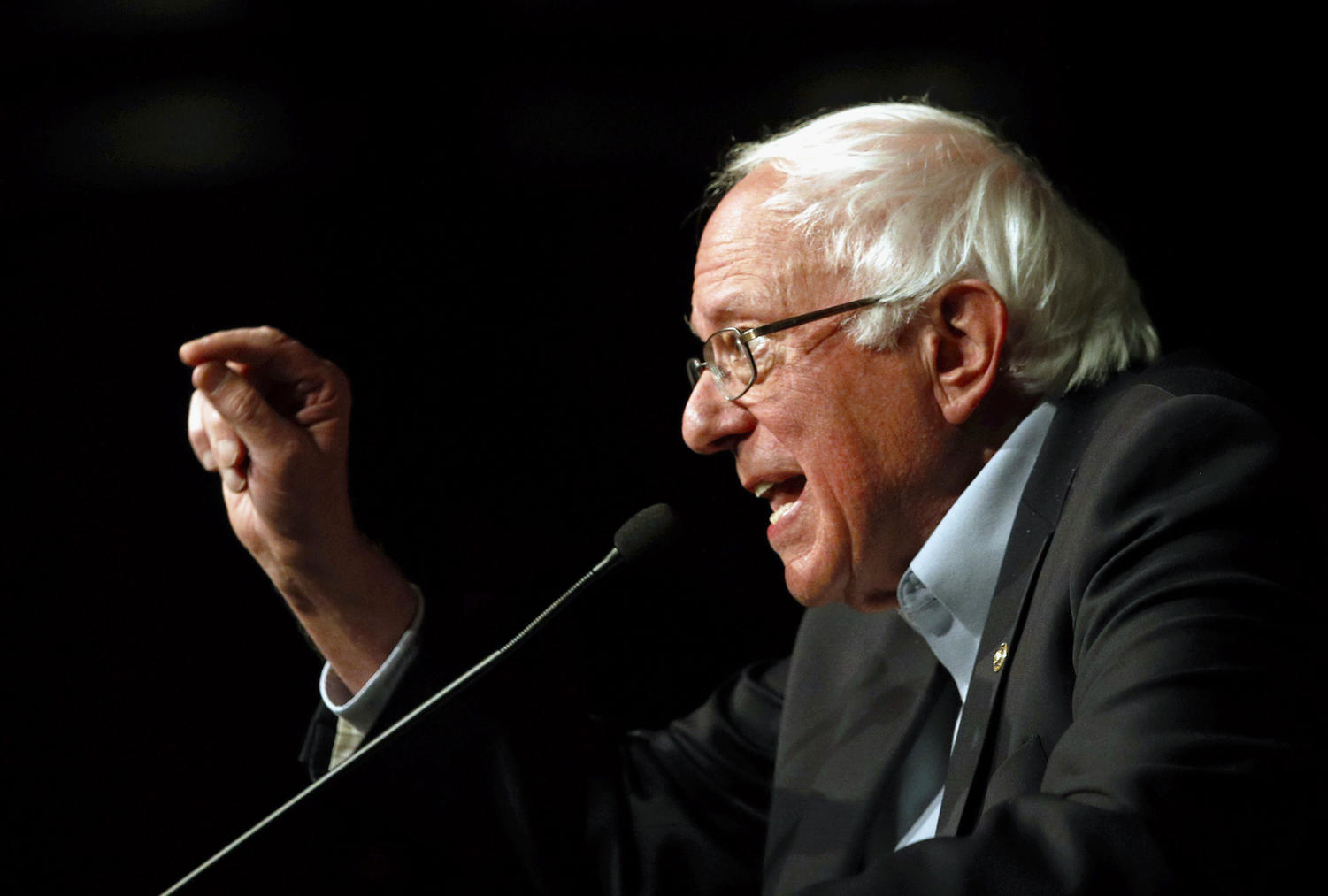 FILE - In this Oct. 30, 2018 file photo, Sen. Bernie Sanders, I-Vt., speaks in support of Maryland Democratic gubernatorial candidate Ben Jealous at a campaign rally in Bethesda, Md. Sanders is seeking reelection in Vermont's Nov. 6 general election. (AP Photo/Patrick Semansky, File)