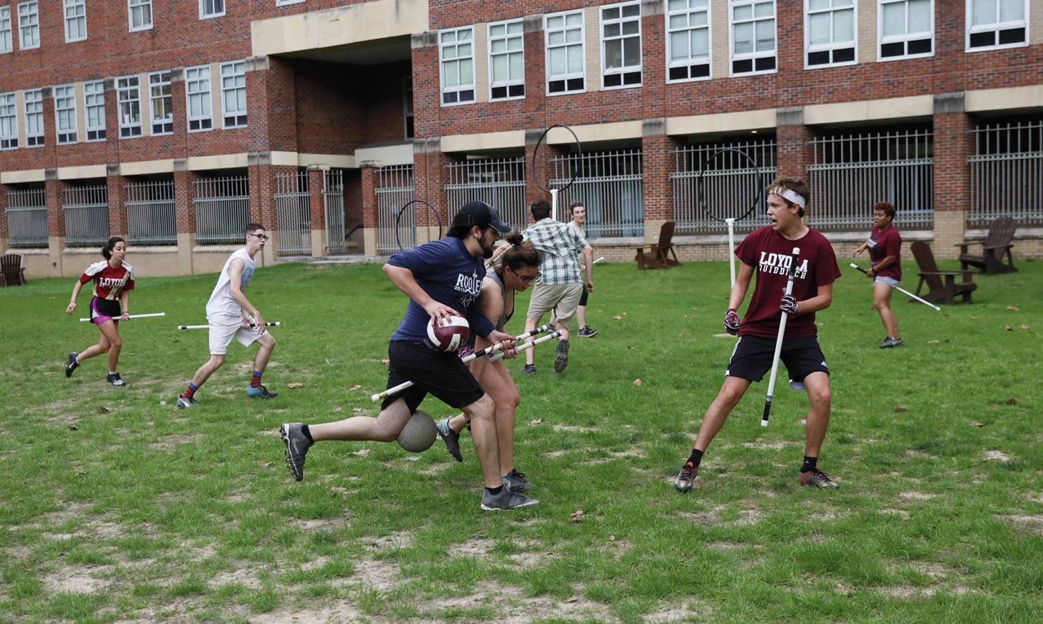 The quidditch team practices in the 2018 spring semester. The team finished winless that semester in 16 games, but have gotten off to a 4-6 start this season. Photo credit: Cristian Orellana