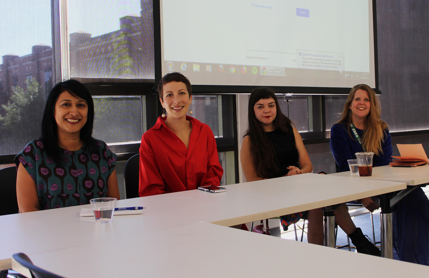 Panelists pose for a picture before beginning their discussion about being female filmmakers. The panelists shared their thoughts on how the film and entertainment industries are becoming more accessible to women and where they see it going in the future. Photo credit: Khayla Gaston