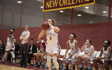 Presley Wascom, mathematics sophomore, racked up 19 points as the team's starting guard and dished out three assists, leading the Wolf Pack's offense. Photo credit: Loyola New Orleans Athletics