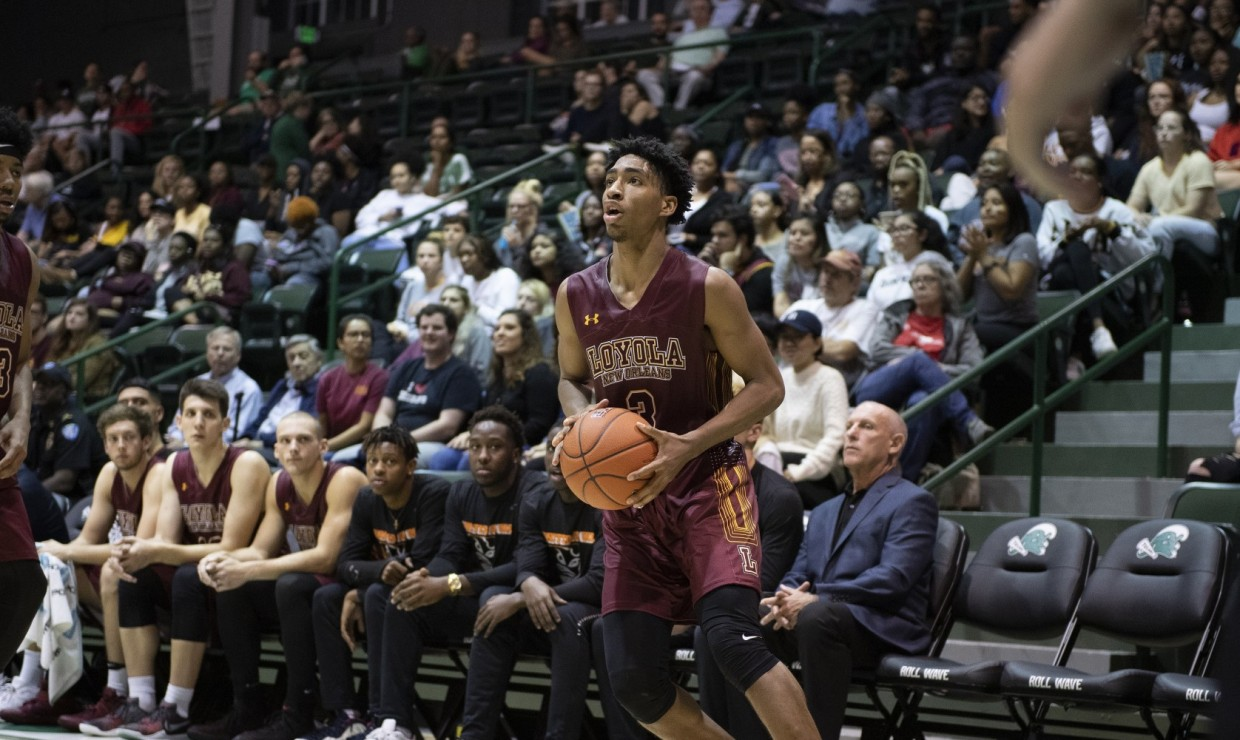 Mass communication Myles Burns led the team in scoring with 19 points while also grabbing seven rebounds, three steals and two assists. Photo credit: Loyola New Orleans Athletics