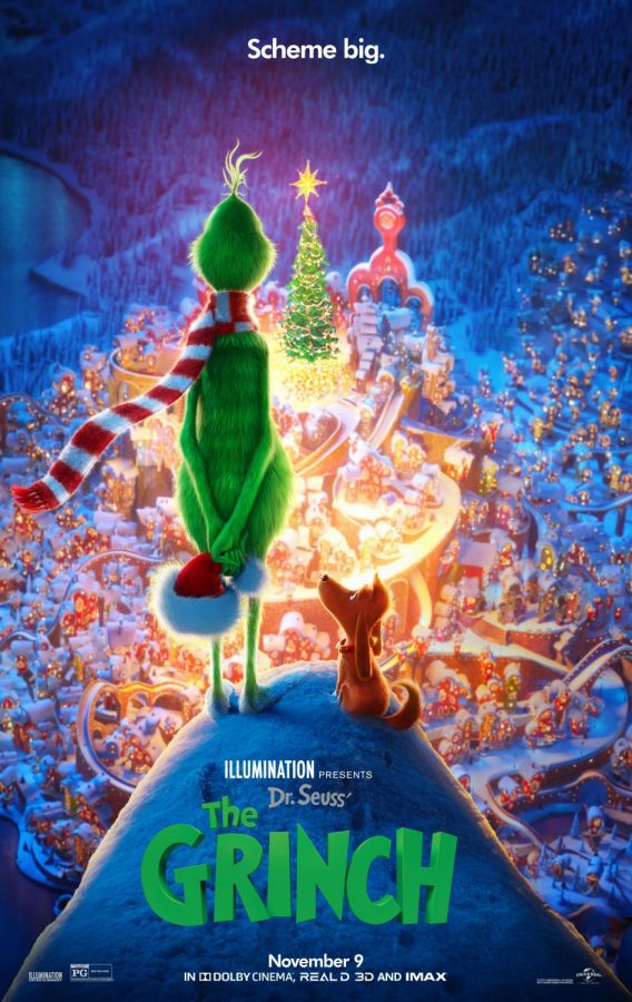 The+poster+for+the+2018+version+of+The+Grinch.+The+poster+shows+The+Grinch+overlooking+Whoville.