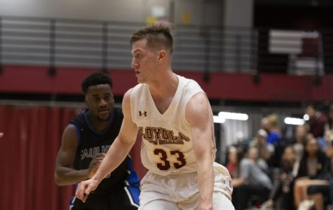 Finance senior, Ethan Turner, (33) ended the game versus Dalton State with 12 points, three steals, two assists and two rebounds. Photo credit: Loyola New Orleans Athletics