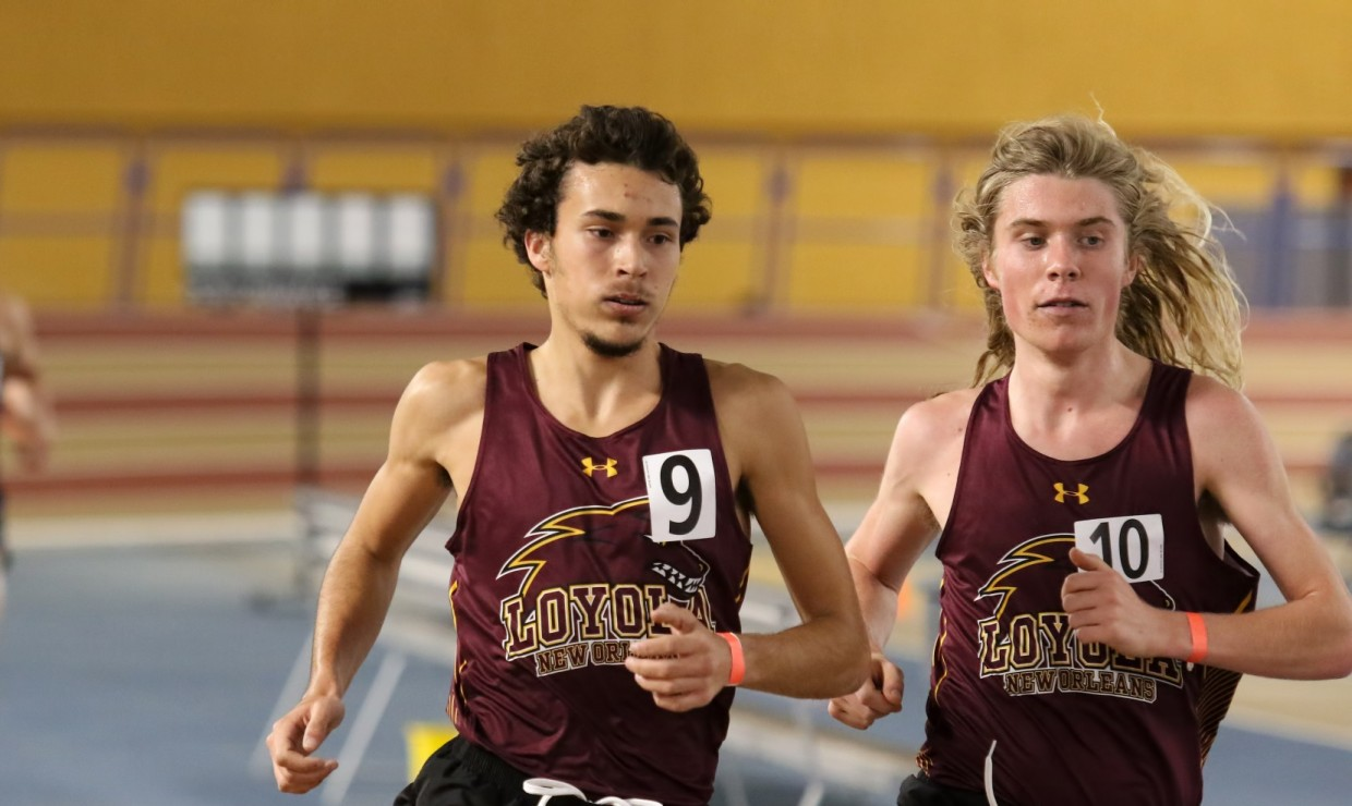 Psychology sophomore Hayden Ricca and environmental studies sophomore Walter Ramsey each broke records at the McNeese Indoor II on Jan. 25. Mass communication senior Leah Banks set two program records at the meet. Photo credit: Loyola New Orleans Athletics