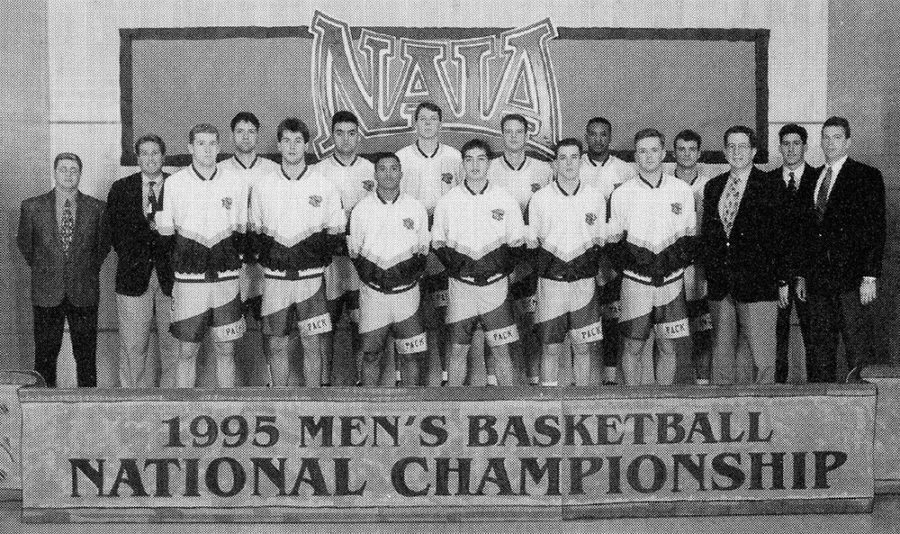 A photo of Loyola University New Orleans' 1995 men's basketball team. The team as well as Amy Danielson, Garkeiva Council, Gina Gill will be inducted into the Hall of Fame. Photo credit: Loyola University New Orleans
