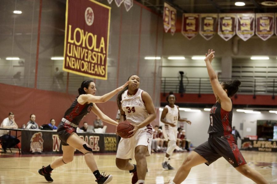 Biology senior An'Jolique Woodson led the squad off the bench as the Loyola's women's basketball team racks up a 60-44 win over Florida College. Photo credit: Andres Fuentes