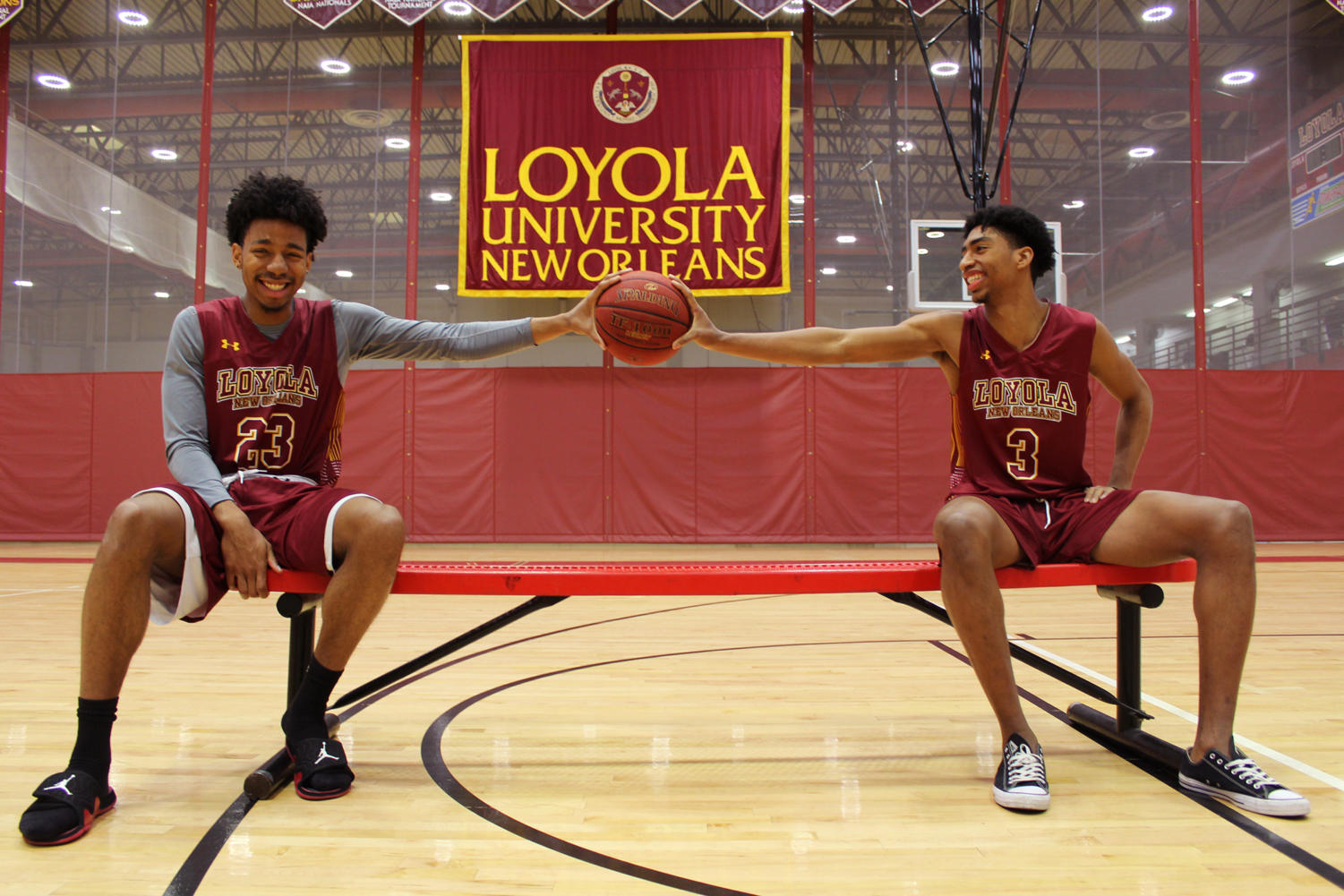 Zach Wrightsil and Myles Burns, mass communication freshmen, start on the Loyola men's basketball team. Their first year on the team has been met with notable performances and high statistical averages. Photo credit: Anum Siddiqui