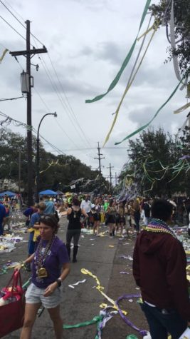 Beads, streamers and trash litter the streets and hang from trees after a parade during last year's Mardi Gras. Nearly 1,200 tons of trash were collected during the 2018 Mardi Gras parade season, with artifacts like beads hanging from trees remaining in the city for years to come. ANDERSON LEAL/The Maroon. Photo credit: Anderson Leal