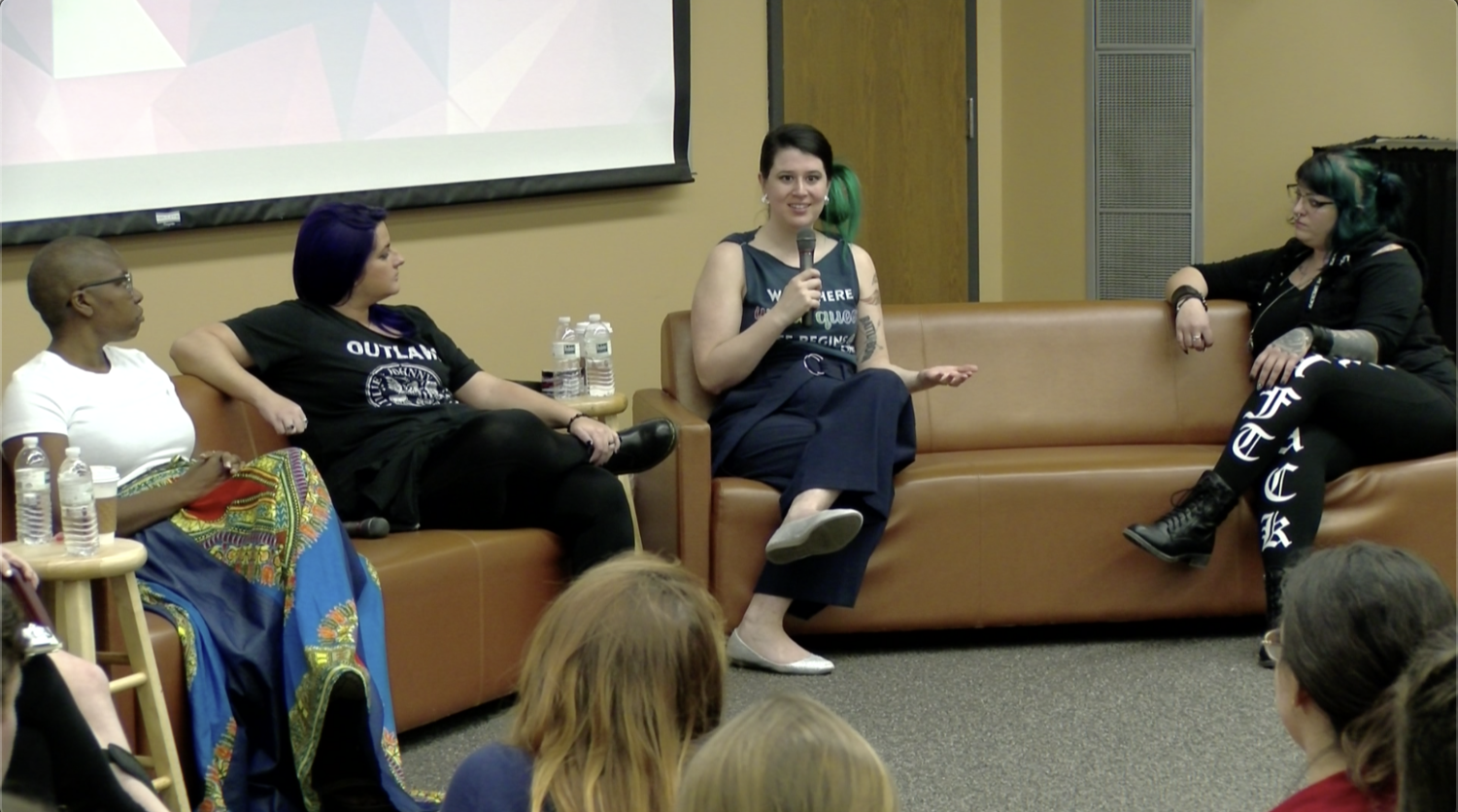 Pictured left to right: Cessilye Smith, Destiny Hernandon-De La Rosa, Aimee Murphy and Albany Rose talk about the different paths that led them to the anti-abortion movement. Photo credit: Christian Willbern