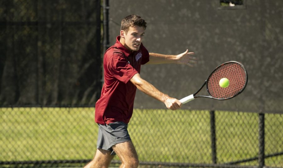 The team would get their only victory in the singles matches with digital filmmaking freshman Samuel Marin earning a 6-4 victory. Photo credit: Loyola New Orleans Athletics