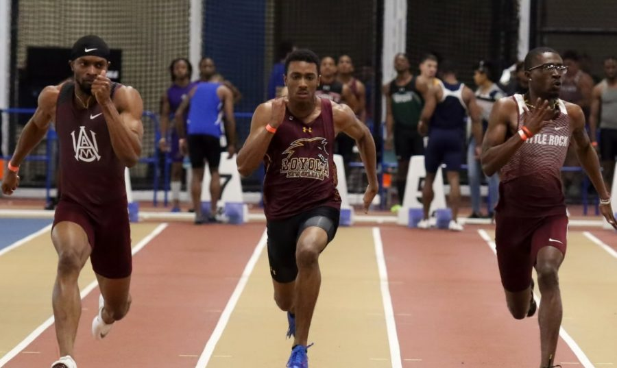 Computer information systems junior Jarrett Richard set the tone early for the Wolf Pack, shattering the school record in the 200-meter dash with a time of 22.27 Photo credit: Loyola New Orleans Athletics