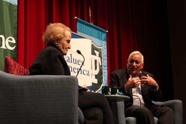 Former U.S. Secretary of State Madeleine Albright (left) discusses politics and her newest book,