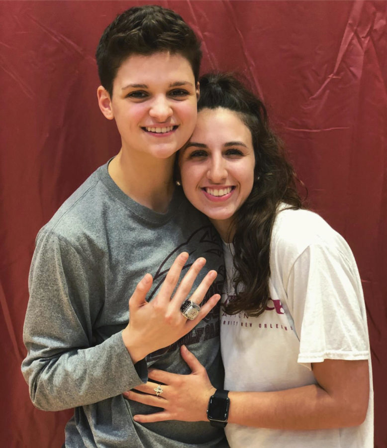Biology senior Kayla Noto (left) and her girlfriend, Katie Philippi, A'17, pose after Noto recieved her 2017 championship ring. Both individuals meet while playing athletics at Loyola. Courtesy Kayla Noto.