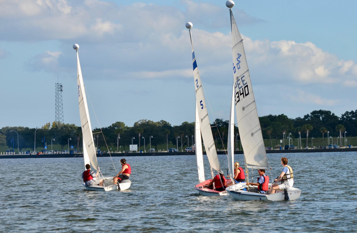 Loyola's sailing club practices on the waters of Lake Pontchartrain, an almost 20-minute drive away from campus. The sailing team offers students a chance to compete in regattas across the nation. Photo by Sofia Giordano.