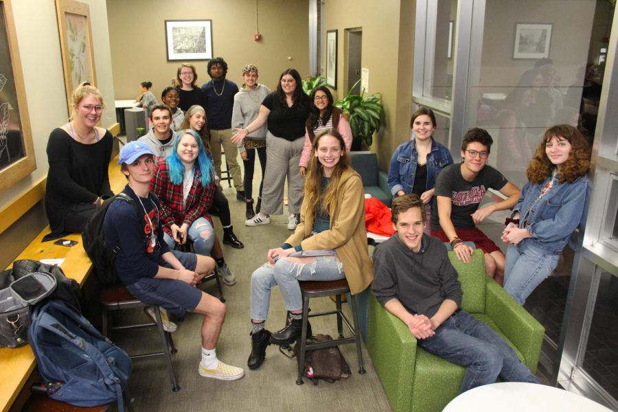 Members of Loyola's recently rebranded student organization Students for Sustainability gathers behind Starbucks in the Danna Center on Jan. 31 to discuss recycling, the environment and how to make Loyola a greener campus. Photo credit: Cristian Orellana