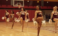 Loyolas competitive dance team performs during a timeout at a home game on Feb. 14, 2019. The dance team placed 12th at the national meet. Photo credit: Jacob Meyer