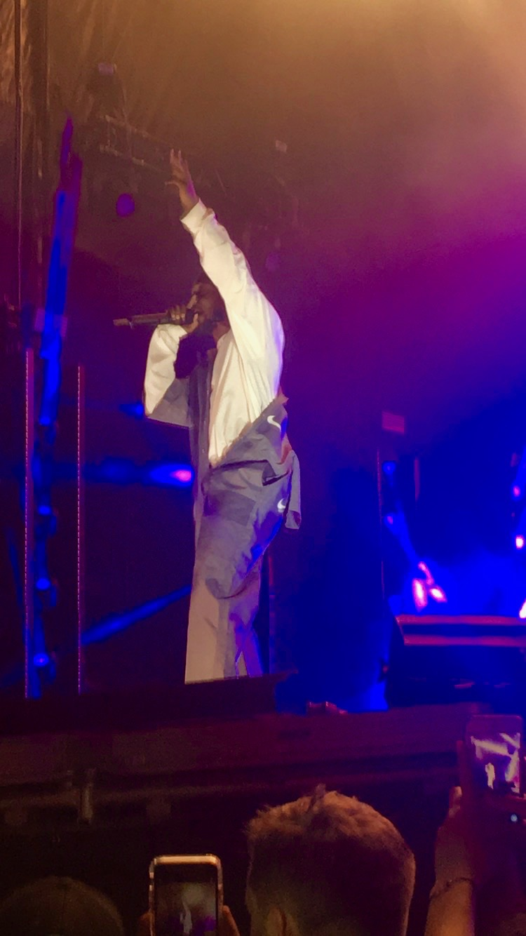 """Kendrick Lamar performs at the 2017 Voodoo Music + Arts Experience. Lamar played several songs from """"To Pimp a Butterfly"""". SIDNEY OVROM / The Maroon. Photo credit: Sidney Ovrom"""
