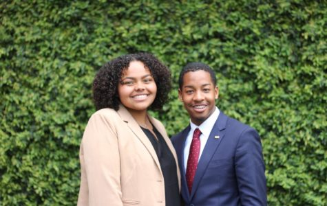 President-elect Jessamyn Reichmann and vice president-elect Freedom Richardson pose outside of Monroe Hall on March 11, 2019. They won after running unopposed. Photo credit: Cristian Orellana