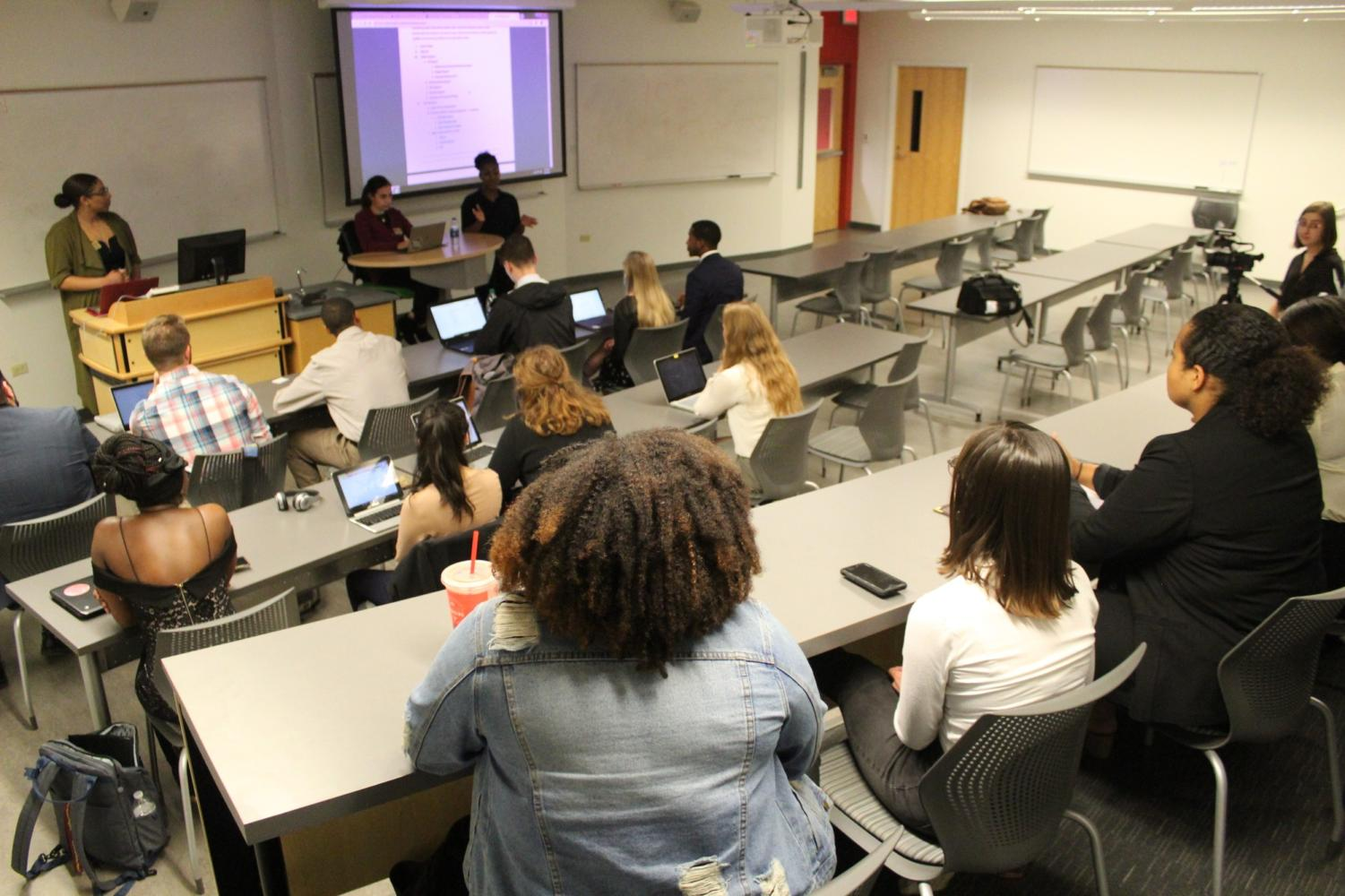 Students listen as the Student Government Association discuss their responses to President Sierra Ambrose's list of vetos. The vetos become a major point of contention. Photo credit: Cristian Orellana