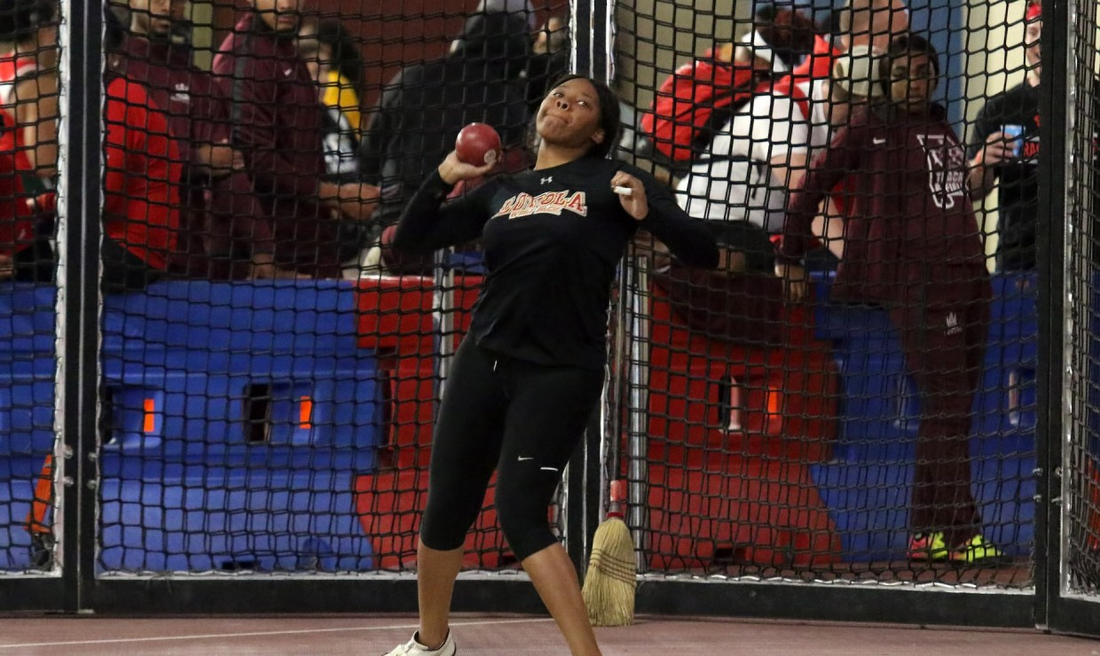 Senior Taylor Hagins threw 42.48 meters in the hammer throw and finished in seventh place overall in the meet. Two other program records were set. Photo credit: Loyola New Orleans Athletics