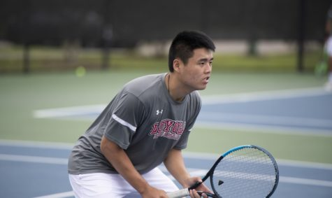 Business sophomore Tiger Cheung would be in the lead court in singles competition, winning 8-0 over his opponent. Cheung now has a 3-0 record this year when he plays in the lead court. Photo credit: Loyola New Orleans Athletics