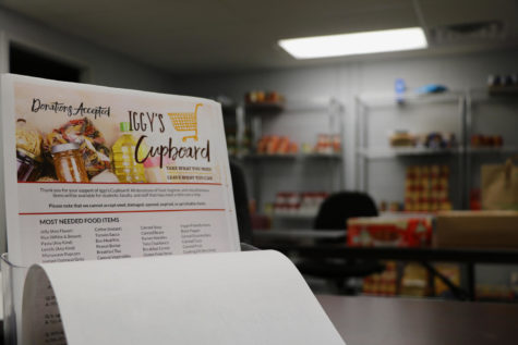An understocked Iggy's Cupboard  lies in the basement of the Danna Center. The cupboard is low on current supplies and needs restocking as the new semester approaches. Photo credit: Hannah Renton