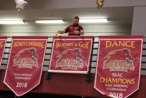 Banners were hung for the dance team, the women's golf team and both swim teams at Senior Night on Feb. 14 2019 for competing nationally last year. The Directors' Cup judges based on a school's national performance.