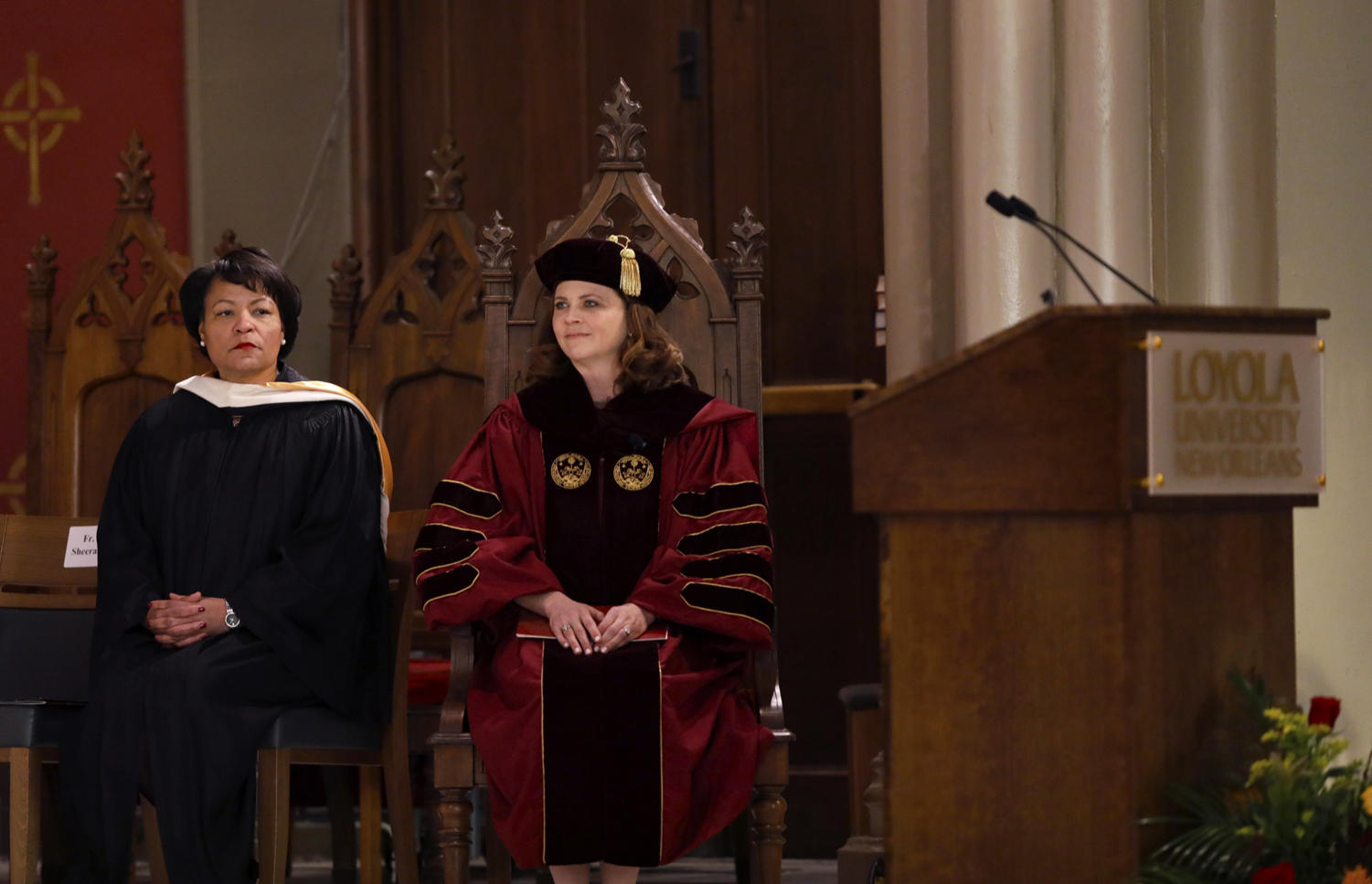 University President Tania Tetlow and New Orleans Mayor LaToya Cantrell sit together during Tetlow's inauguration last fall. Tetlow was in charge of recruiting speakers for the upcoming Women's Leadership Academy -- one of whom will be Cantrell. Photo credit: Angelo Imbraguglio