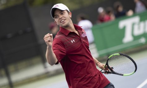 Business sophomore Joseph Short celebrates point. Both tennis teams advanced to the semifinals in the SSAC Championship tournament. Photo credit: Loyola New Orleans Athletics