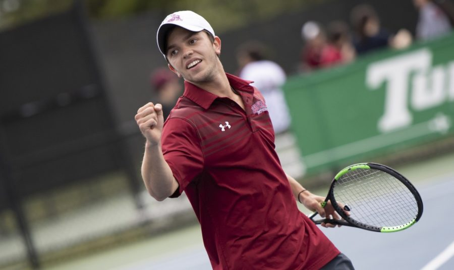 Business+sophomore+Joseph+Short+celebrates+point.+Both+tennis+teams+advanced+to+the+semifinals+in+the+SSAC+Championship+tournament.+Photo+credit%3A+Loyola+New+Orleans+Athletics