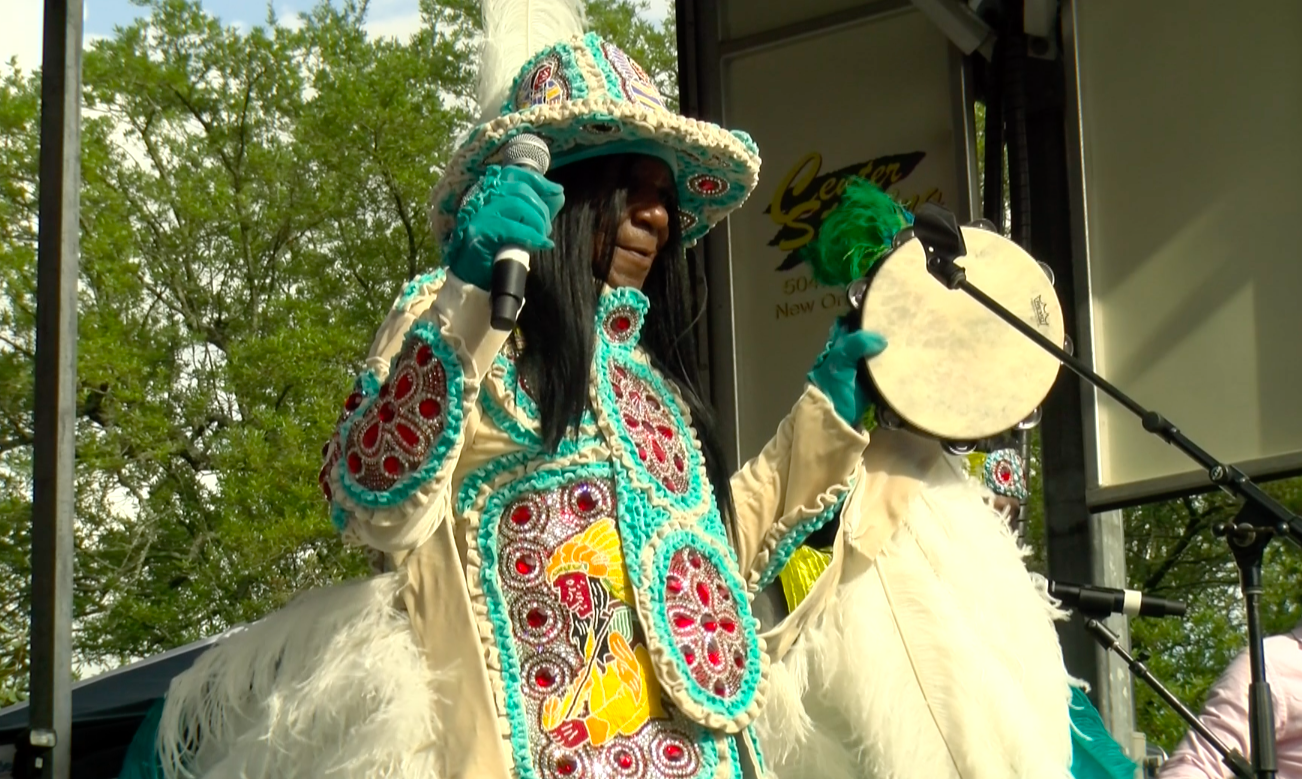 Mardi Gras Indians take the stage Saturday, March 30 at the Congo Square New World Rhythms Festival. The festival, sponsored by the New Orleans Jazz and Heritage Foundation, was a celebration of African American heritage and the community's influence on New Orleans music. Photo credit: India Yarborough