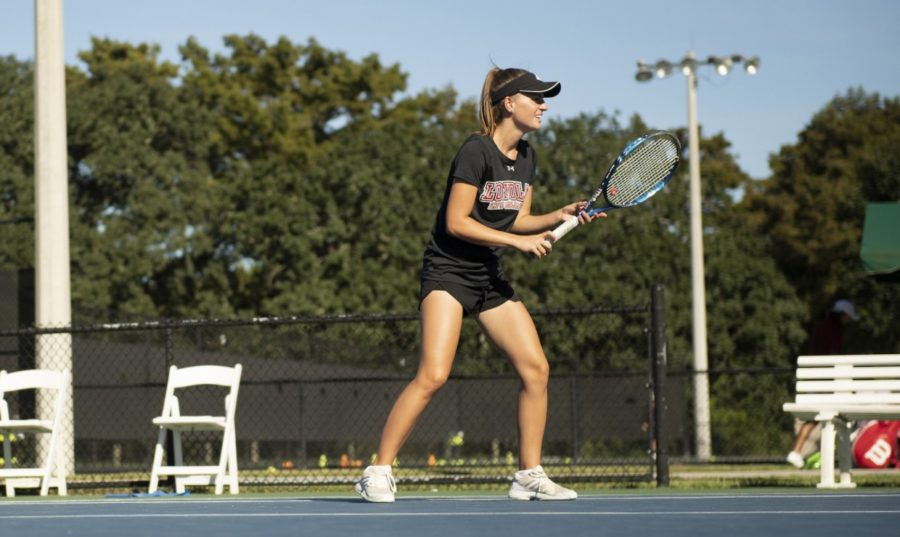 Pre-med junior Nadja Ochsner earned her first All-Conference selection. 14 tennis athletes in total won conference awards. Photo credit: Loyola New Orleans Athletics