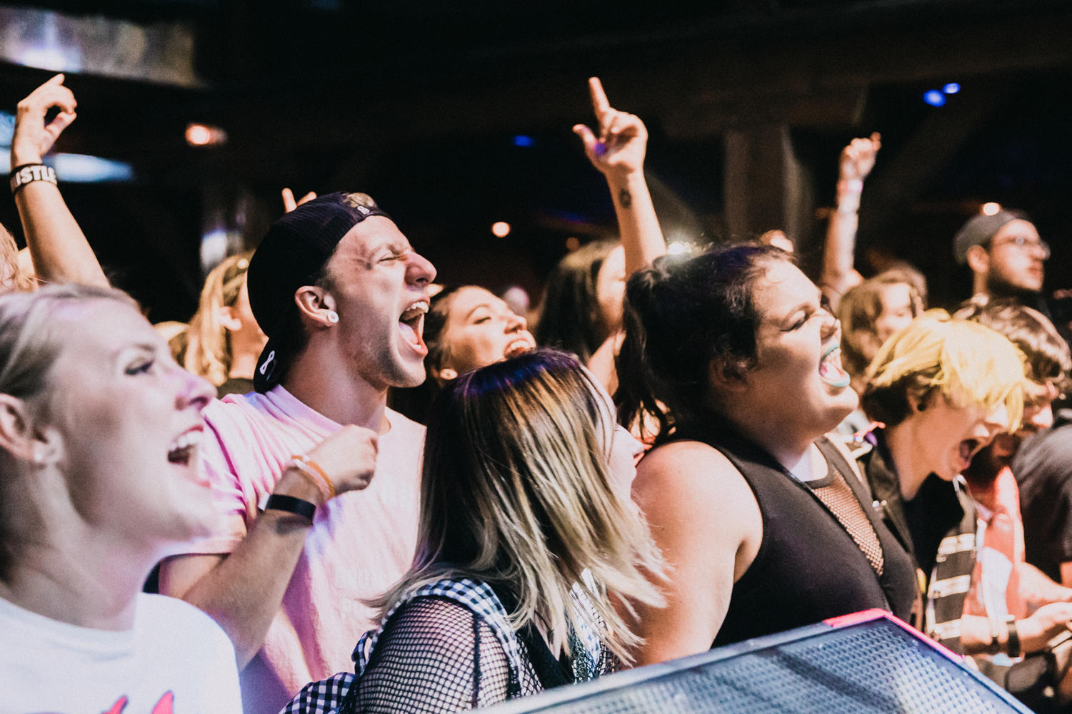 Fans dance and scream in front of the Republic stage during the venue's Emo Night event.