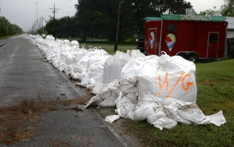 A wall of sandbags lines La. 45 in Jean Lafitte on July 14, 2019. The wall protected homes from flooding as Tropical Storm Barry swept through the area.