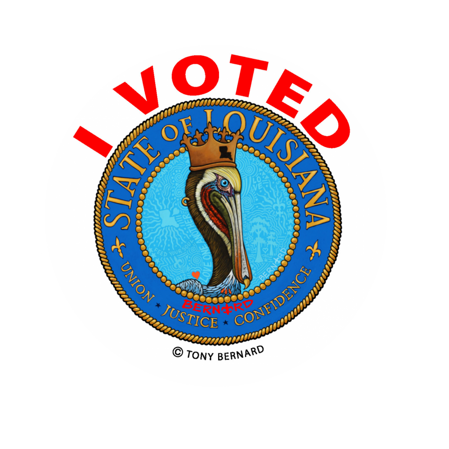 Louisianas new sticker design was inspired by the state seal. Stickers will be handed out to voters in the upcoming elections.