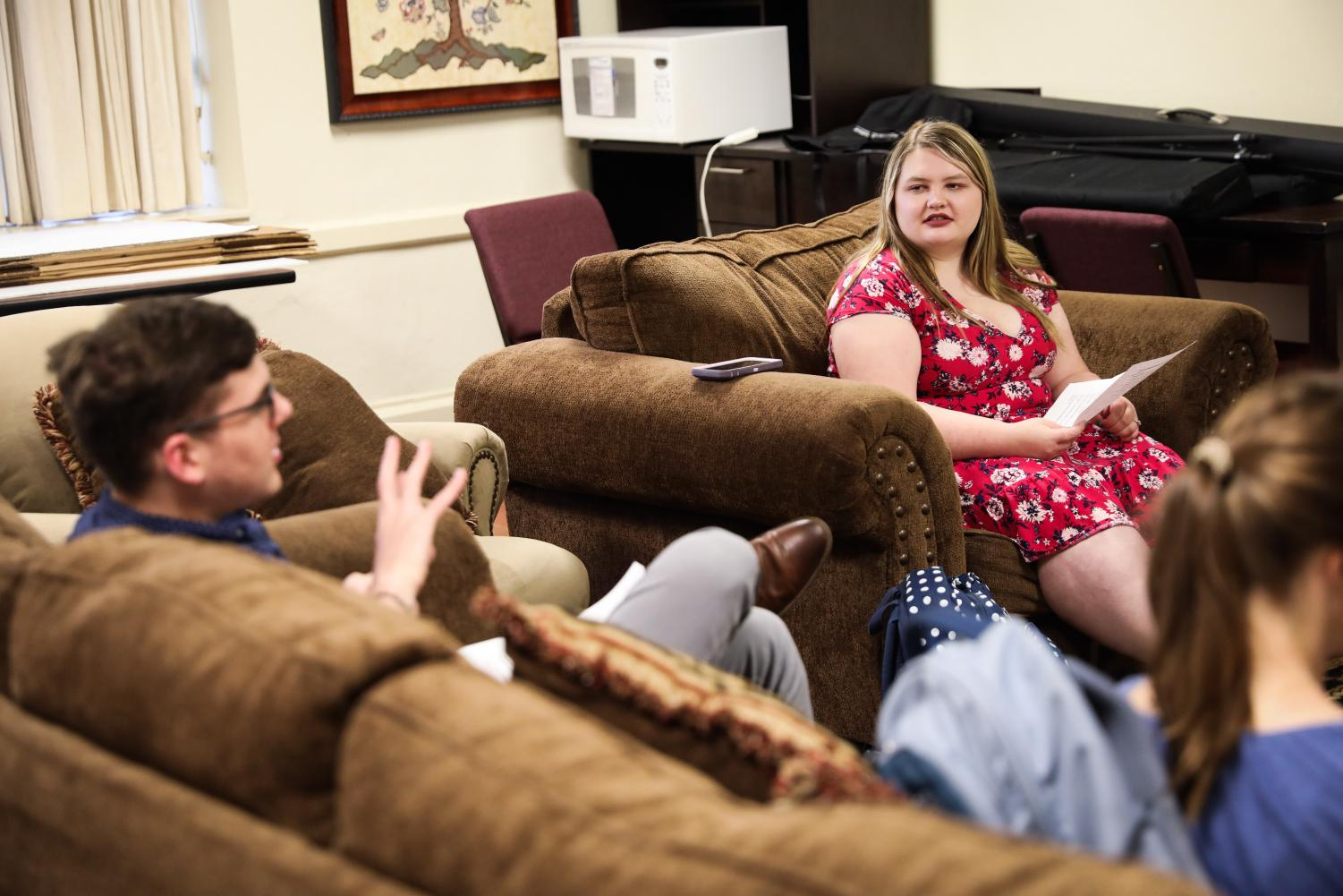 Wolf Pack for Life president Madison Tuck listens as vice president Alex Lucas speaks in the August 20 officer meeting.