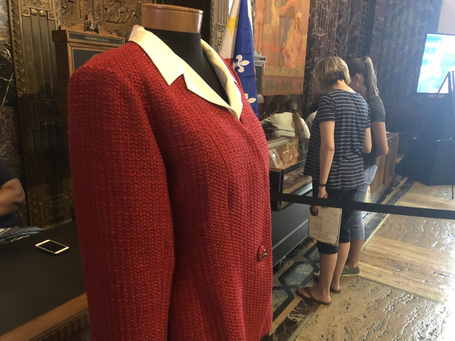 Kathleen Blanco's suit from her inauguration as Louisiana's first female governor was on display at the State Capitol on Aug. 22, 2019. Other items from her political career were also showcased to the public. Photo credit: Andres Fuentes