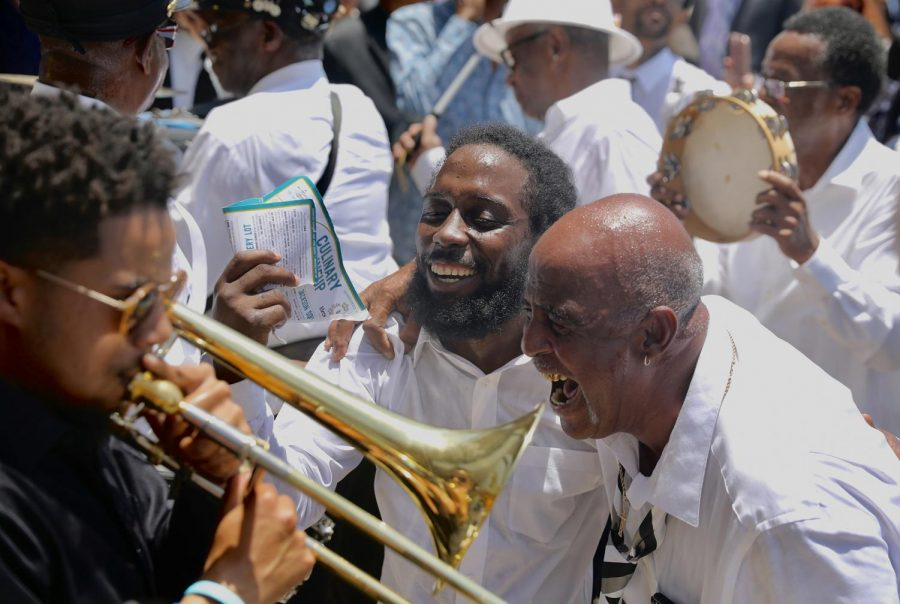 Members+of+the+Treme+Brass+Band+performing+outside+of+St.+Gabriel+the+Archangel+Roman+Catholic+Church+after+Dave+Bartholomew%27s+funeral.+The+band+played+jazz+music+to+honor+the+musical+icon.+Photo+credit%3A+Andres+Fuentes