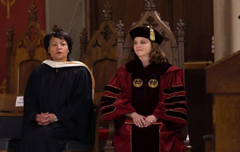 University President Tania Tetlow and New Orleans Mayor LaToya Cantrell sit together during Tetlow's inauguration on November 16, 2018.  Cantrell and Tetlow both took over two of the most prominent positions in New Orleans.  Angelo Imbraguglio/The Maroon