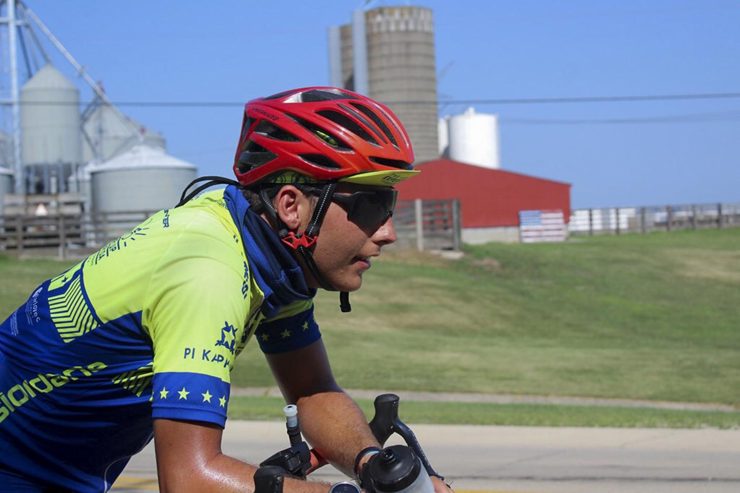 Will Ingram, mass communication junior, bikes. Ingram biked across the country this summer in support of the Ability Experience.