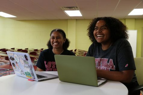 Student Government Body Director of Communications, Lauren King, and President Jessamyn Reichmann work together in the SGA Hub. Reichmann announced King as the new Director of Communications on Wednesday, Sept. 4.