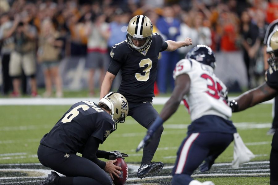 New Orleans Saints kicker Wil Lutz (3) kicks a 58 yard field goal as Thomas Morstead (6) holds, at the end of regulation, in the second half of an NFL football game against the Houston Texans in New Orleans, Monday, Sept. 9, 2019. The Saints won 30-28. AP Photo/Bill Feig