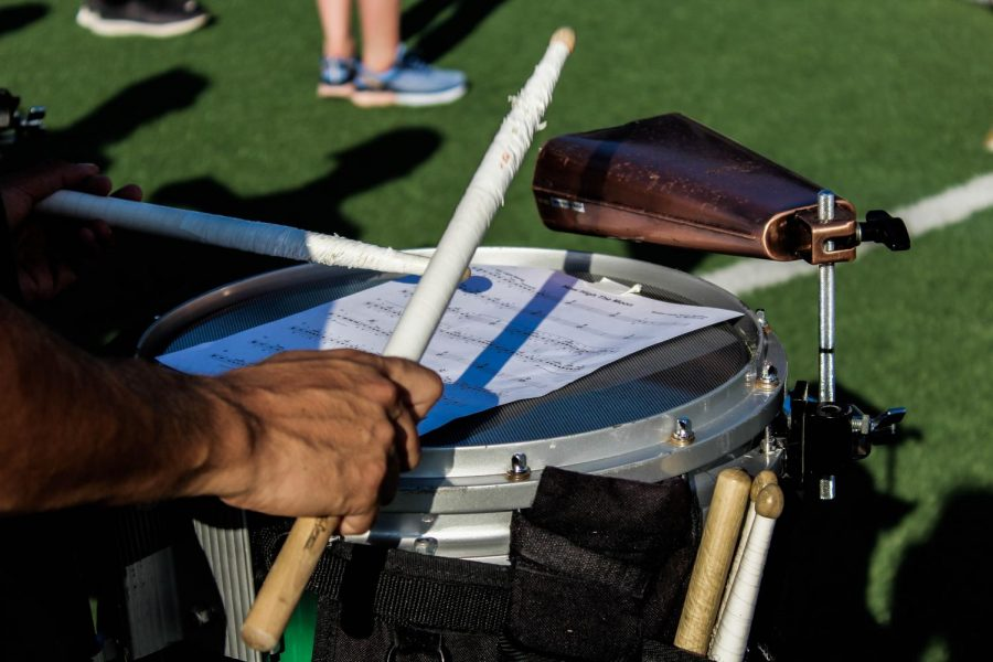Demetrio Dane Castillo, Loyola senior, plays snare drum during a Tulane marching band practice on Aug. 30. Castillo played tuba in the band for his first two years before taking a year off and returning as a member of the drum line.