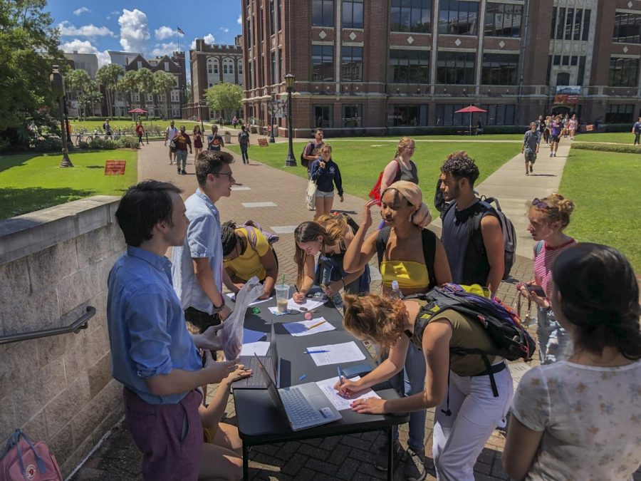 Students+sign+the+condom+petition+Sept.+3.+Britton+Hansen%2C+along+with+the+rest+of+Loyola+for+Reproductive+Rights%2C+created+this+petition+to+allow+the+distribution+of+condoms+on+campus.